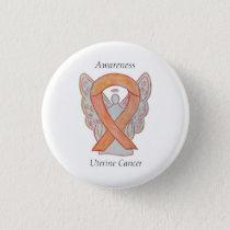 Uterine Cancer Angel Awareness Ribbon Custom Pins