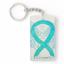 Uterine Cancer Angel Awareness Ribbon Keychain