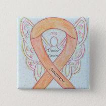 Uterine Cancer Angel Awareness Ribbon Pins