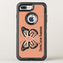 Uterine Cancer Awareness Butterfly Ribbon OtterBox Defender iPhone 8 Plus/7 Plus Case