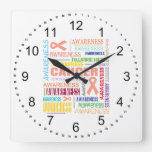 Uterine Cancer Awareness Collage Square Wall Clocks