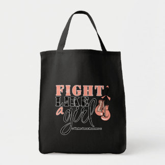 Uterine Cancer Awareness Fight Like a Girl Grocery Tote Bag