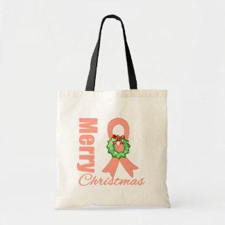 Uterine Cancer Awareness Merry Christmas Ribbon Tote Bags