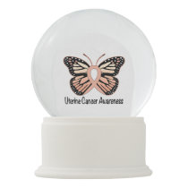 Uterine Cancer Awareness Ribbon and Butterfly Snow Globe
