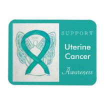 Uterine Cancer Awareness Ribbon Angel Magnet