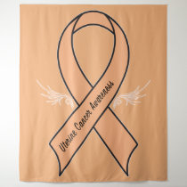 Uterine Cancer Awareness with Wings Tapestry