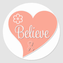 Uterine Cancer Believe Heart Classic Round Sticker