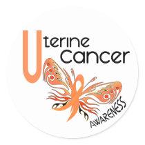 Uterine Cancer BUTTERFLY 3.1 Classic Round Sticker