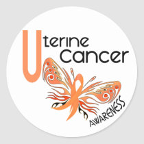 Uterine Cancer BUTTERFLY 3.1 Classic Round Sticker
