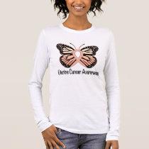 Uterine Cancer Butterfly Awareness Ribbon Long Sleeve T-Shirt