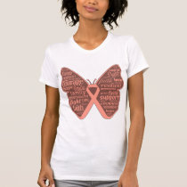 Uterine Cancer Butterfly Collage of Words T-Shirt