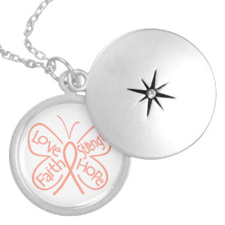 Uterine Cancer Butterfly Inspiring Words Locket Necklace