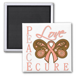 Uterine Cancer Butterfly Peace Love Cure 2 Inch Square Magnet