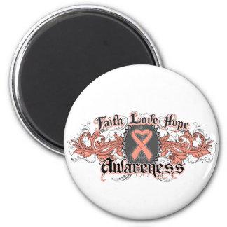 Uterine Cancer Faith Love Hope Deco Heart 2 Inch Round Magnet