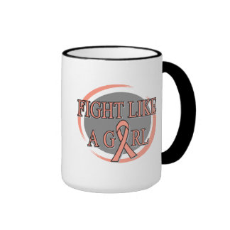 Uterine Cancer Fight Like A Girl Circular Mugs