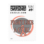 Uterine Cancer Fight Like A Girl Circular Stamp