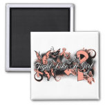 Uterine Cancer Fight Like A Girl Grunge Butterfly Refrigerator Magnets