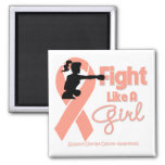 Uterine Cancer Fight Like A Girl  Knock Out Refrigerator Magnet