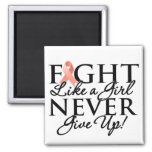 Uterine Cancer Fight Like a Girl Never Give Up Fridge Magnet