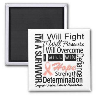Uterine Cancer Fight Persevere Overcome Win 2 Inch Square Magnet