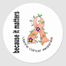 Uterine Cancer Flower Ribbon 3 Classic Round Sticker