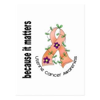 Uterine Cancer Flower Ribbon 3 Postcard
