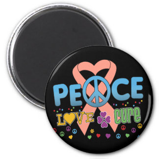 Uterine Cancer Groovy Peace Love Cure 2 Inch Round Magnet