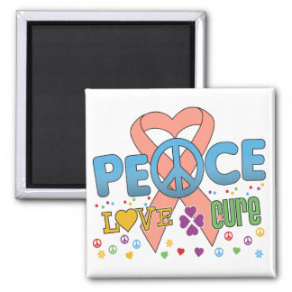 Uterine Cancer Groovy Peace Love Cure 2 Inch Square Magnet