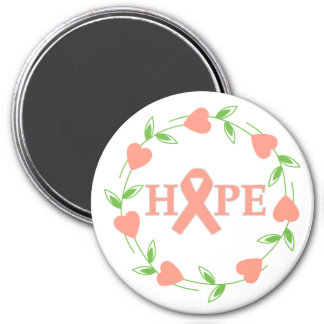 Uterine Cancer Hearts of Hope 3 Inch Round Magnet