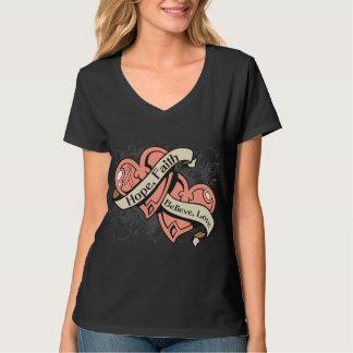 Uterine Cancer Hope Faith Dual Hearts Tshirt