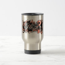 Uterine Cancer Hope Garden Ribbon Travel Mug