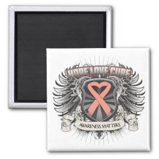 Uterine Cancer Hope Love Cure 2 Inch Square Magnet