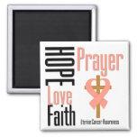 Uterine Cancer Hope Love Faith Prayer Cross 2 Inch Square Magnet