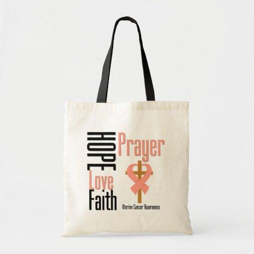 Uterine Cancer Hope Love Faith Prayer Cross Bags