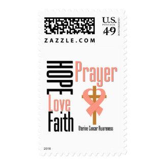 Uterine Cancer Hope Love Faith Prayer Cross Stamps