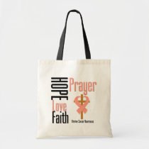 Uterine Cancer Hope Love Faith Prayer Cross Tote Bag