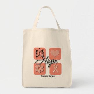 Uterine Cancer Hope Love Inspire Awareness Tote Bag