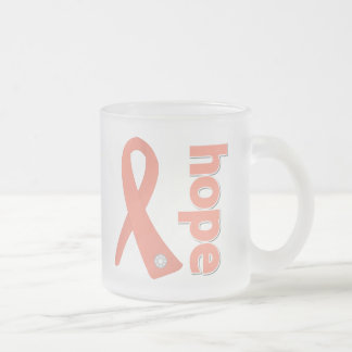 Uterine Cancer Hope Ribbon 10 Oz Frosted Glass Coffee Mug