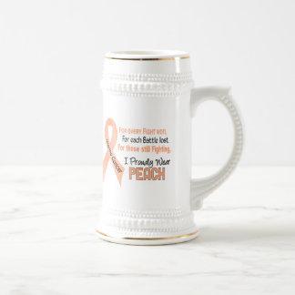 Uterine Cancer I Proudly Wear Peach 1 Beer Stein
