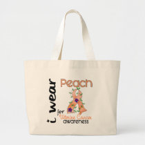 Uterine Cancer I Wear Peach For Awareness 43 Large Tote Bag