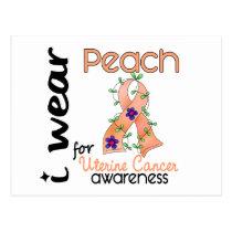 Uterine Cancer I Wear Peach For Awareness 43 Postcard