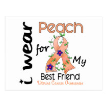 Uterine Cancer I Wear Peach For My Best Friend 43 Postcard