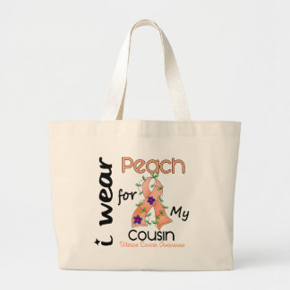 Uterine Cancer I Wear Peach For My Cousin 43 Large Tote Bag