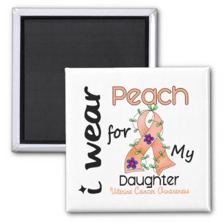 Uterine Cancer I Wear Peach For My Daughter 43 2 Inch Square Magnet