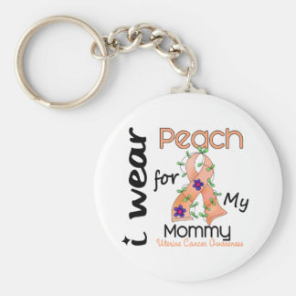 Uterine Cancer I Wear Peach For My Mommy 43 Keychains