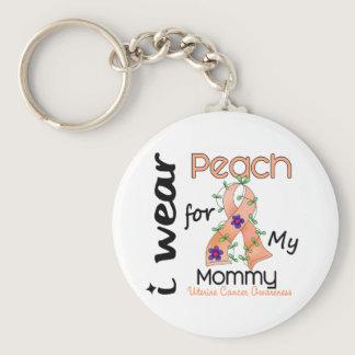 Uterine Cancer I Wear Peach For My Mommy 43 Keychain