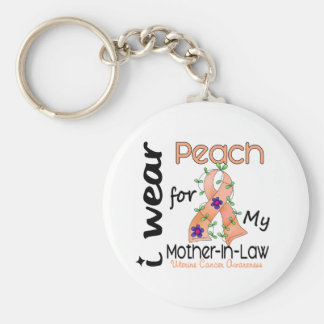 Uterine Cancer I Wear Peach For My Mother-In-Law 4 Basic Round Button Keychain