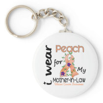 Uterine Cancer I Wear Peach For My Mother-In-Law 4 Keychain