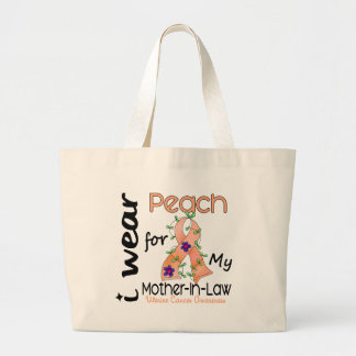 Uterine Cancer I Wear Peach For My Mother-In-Law 4 Large Tote Bag