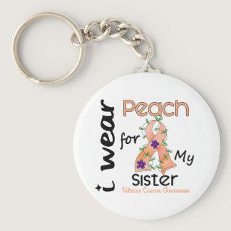 Uterine Cancer I Wear Peach For My Sister 43 Keychain